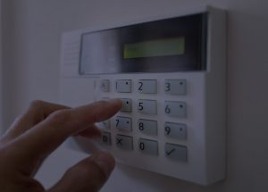photo of a home security system keypad